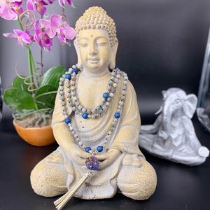 108 bead Knotted Mala Labradorite and Druzy Agate